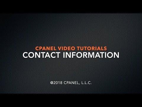 cPanel Tutorials: Contact Information